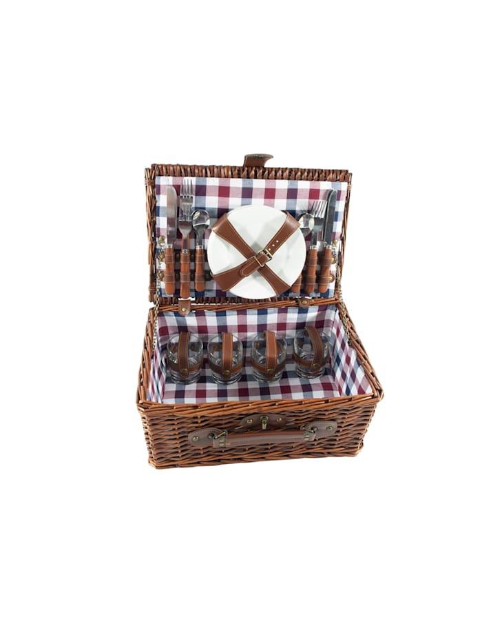 Neuetischkultur Picknickkorb für 4 Personen, Blau, Rot