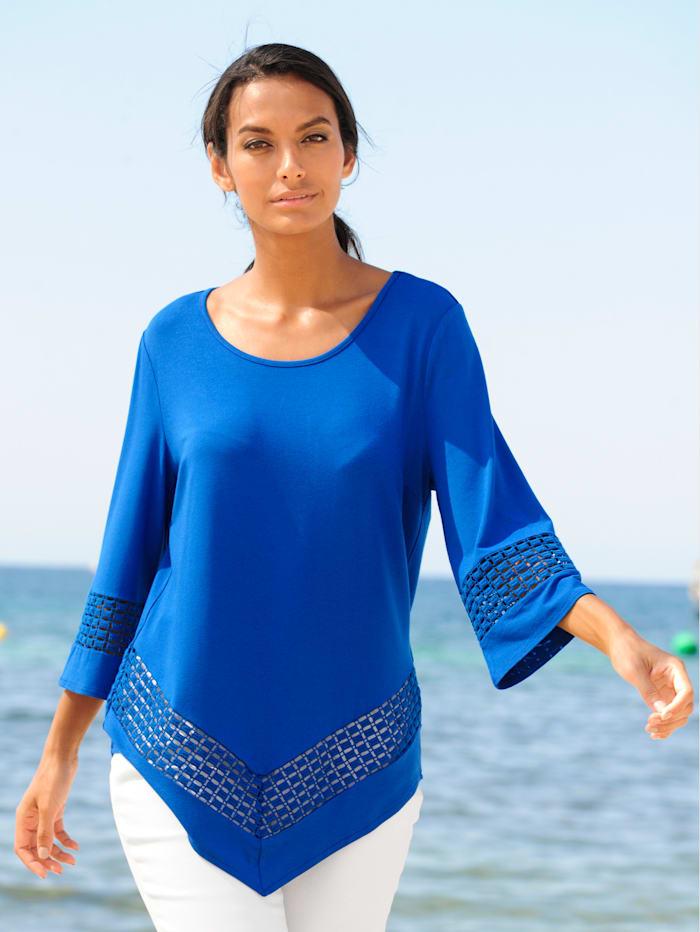 Alba Moda Strandshirt mit spitzem Saum, Blau