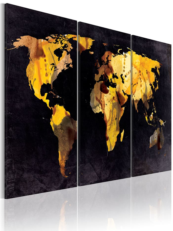 artgeist Wandbild Weltkarte - Treibsand, Gold,Grau,Blau