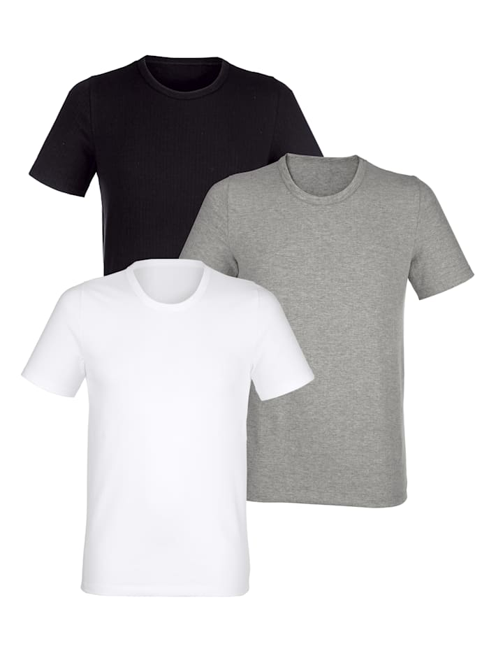 BABISTA Lyhythihainen aluspaita, Valkoinen/Musta/Harmaa