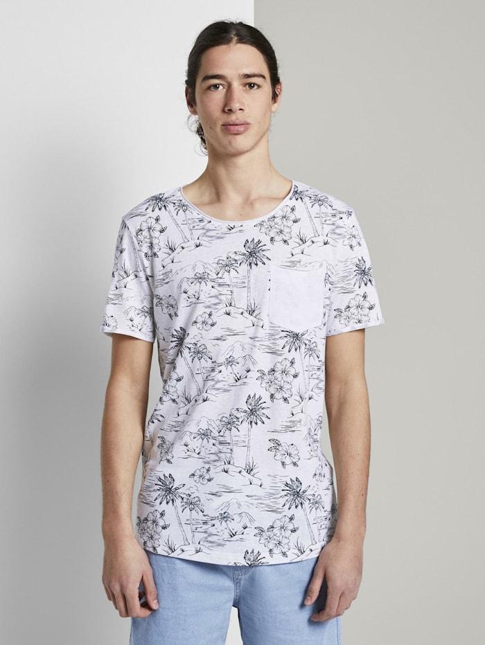 T-Shirt mit Allover-Print und Brusttasche