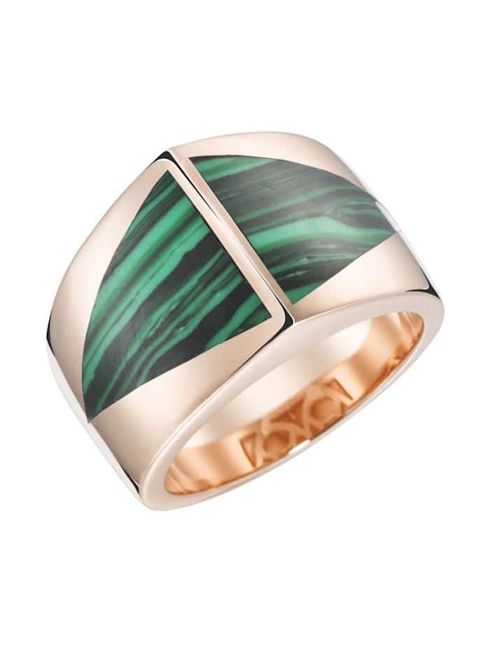 Giorgio Martello Ring mit Stein-Einlage in dreieckiger Form, Grün