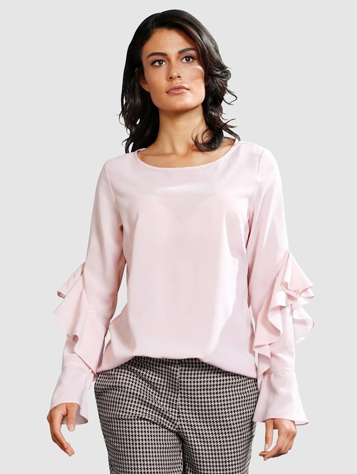 Alba Moda Bluse mit trendiger Volantverarbeitung, Rosé