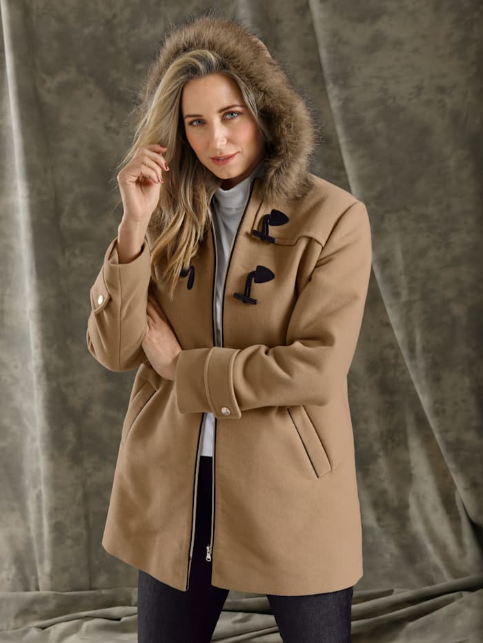 Duffle-coat avec capuche en fourrure synthétique