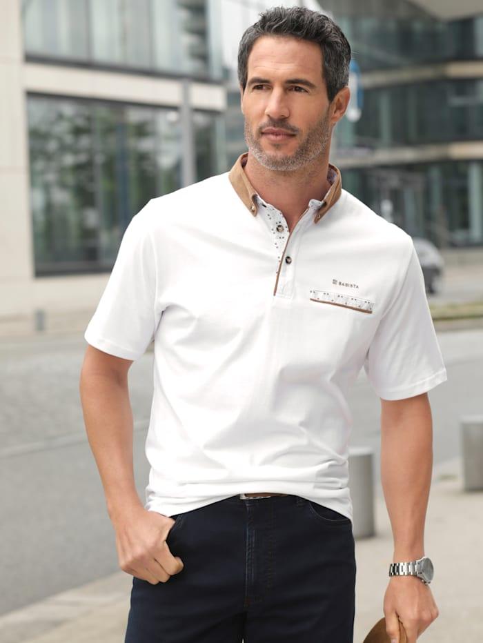 BABISTA Poloshirt met gedessineerde details en paspels, Wit