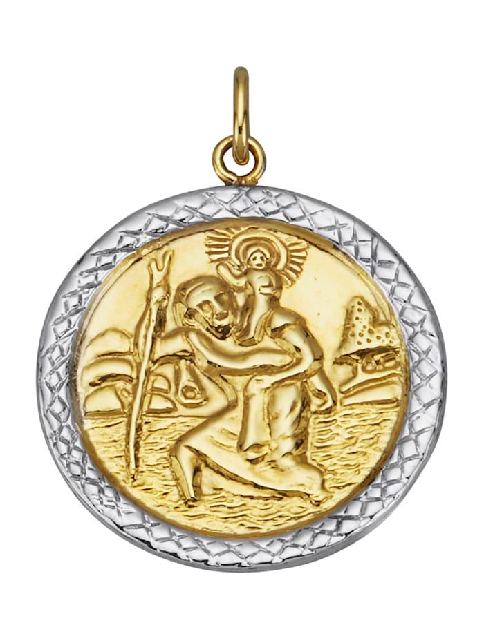 Christophorus-Anhänger in Gelbgold 375, Gelbgoldfarben