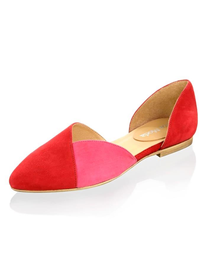 Alba Moda Ballerina van zacht geitensuède, Rood/Pink