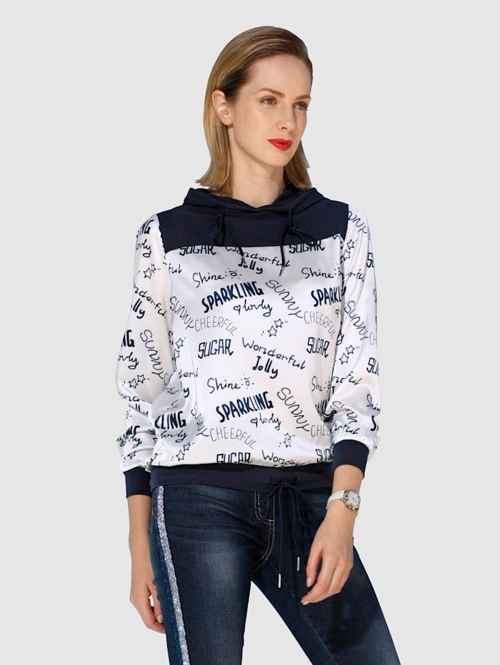 AMY VERMONT Bluse aus bedruckter Web- und unifarbener Jerseyware, Marineblau/Off-white