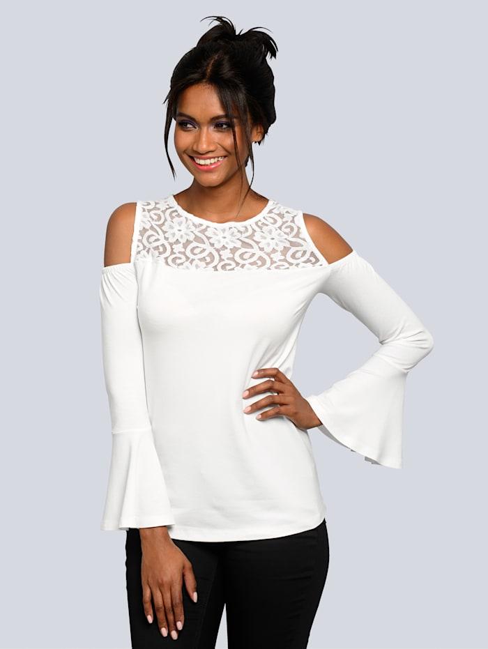 Alba Moda Shirt mit effektvollen Cut-Outs im Schulterbereich, Weiß