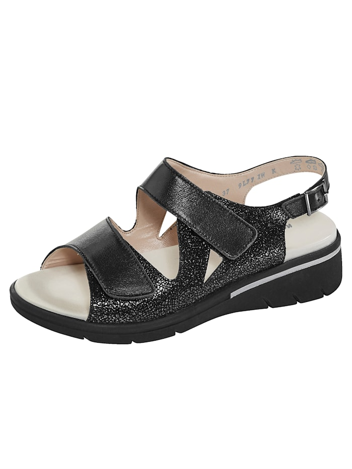 Naturläufer Sandale mit verstellbarem Fersenriemchen, Schwarz