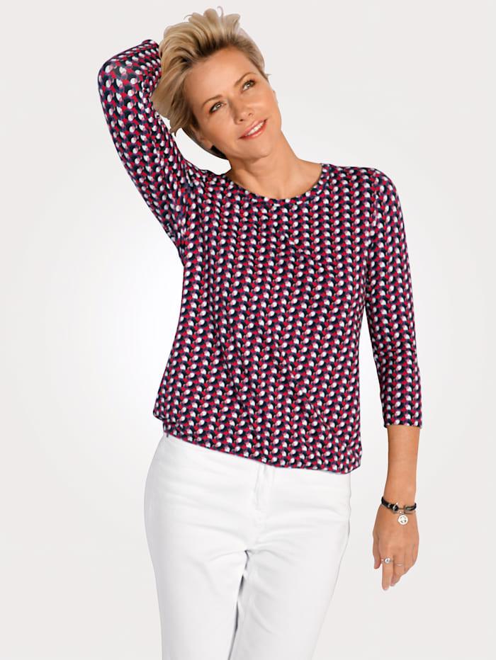 Rabe Shirt mit grafischem Druck, Marineblau/Pink/Rot