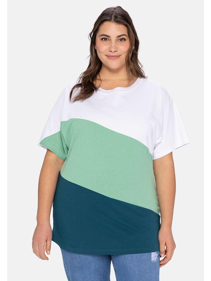 Sheego Shirt im Colourblocking-Stil, mehrfarbig