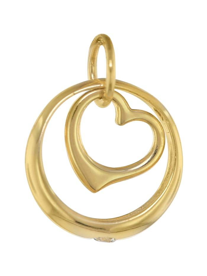 Halskette mit Herz-Taufring Gold auf Silber