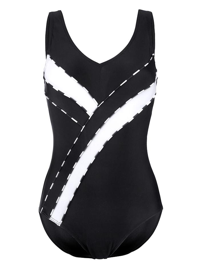 Maritim Badeanzug mit dekorativen Kontrasteinsätzen, Schwarz/Weiß