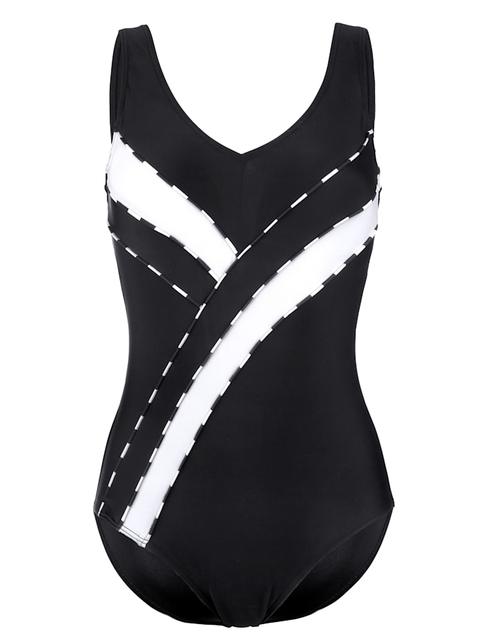 Maritim Swimsuit with chic contrast detailing, Black/White