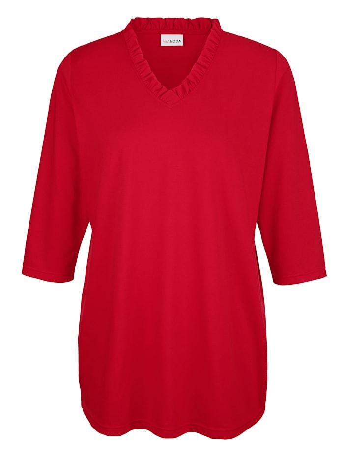 Shirt mit Rüschen am Ausschnitt