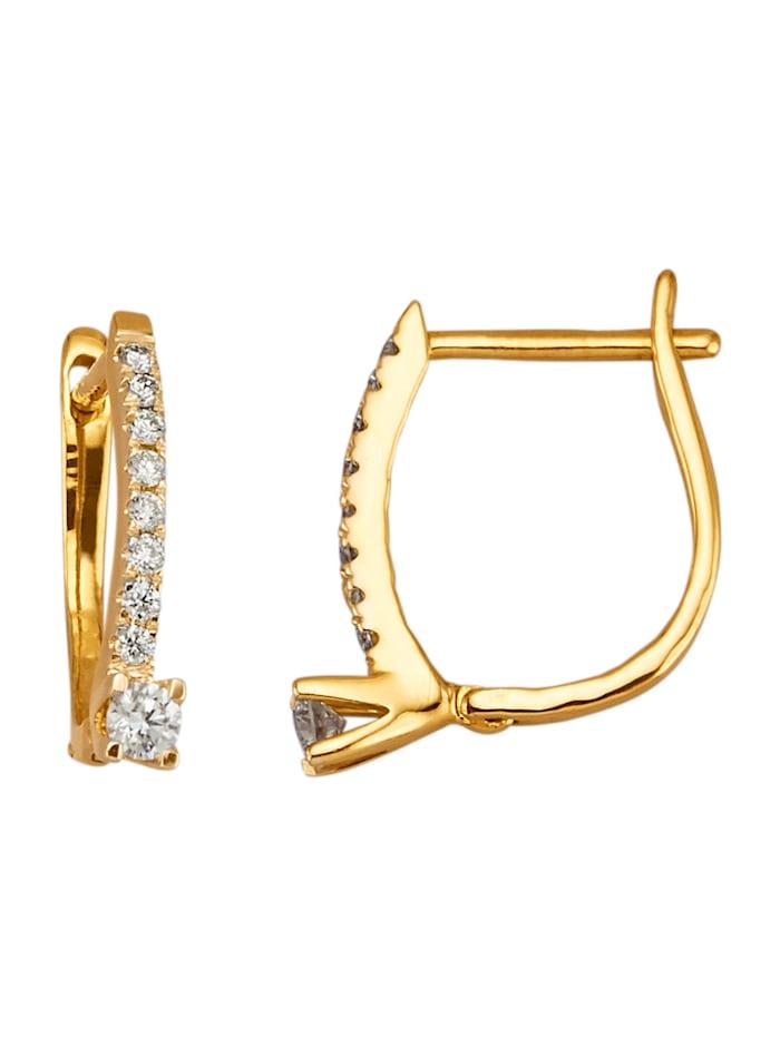 Diemer Diamant Oorbellen met 18 briljanten, Geelgoudkleur