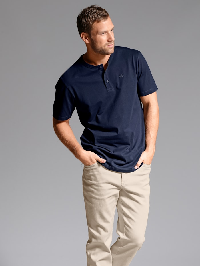 Men Plus Shirt in henleymodel, Marine