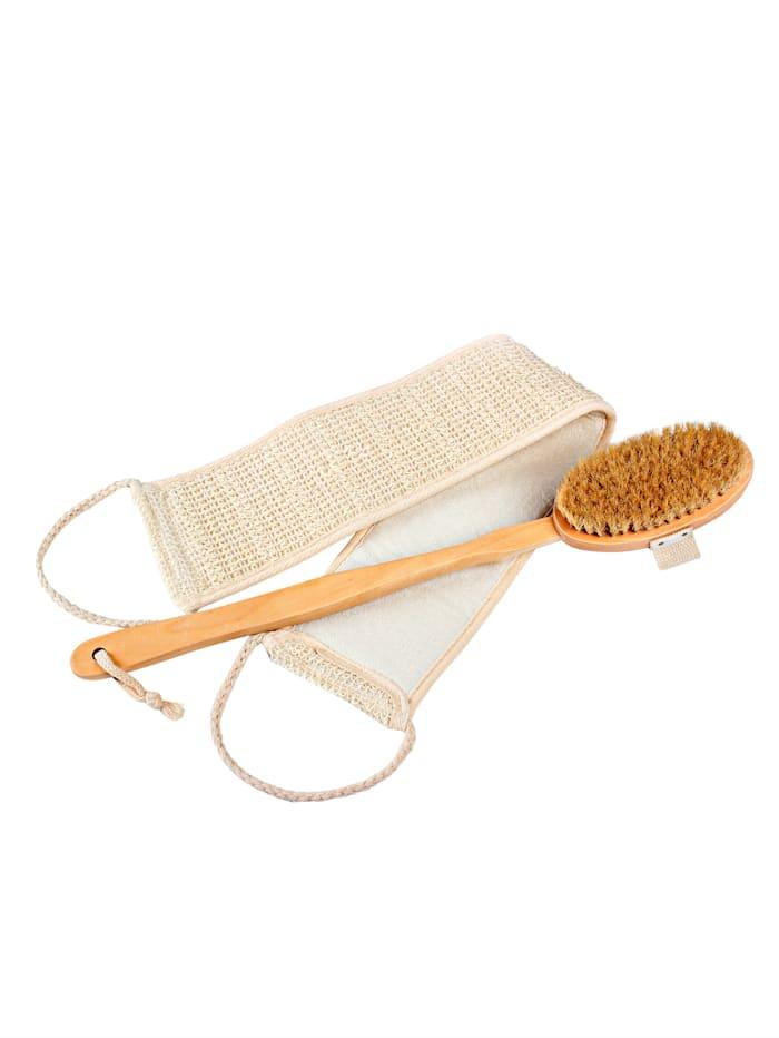 GHZ Badborstel en massageband, beige