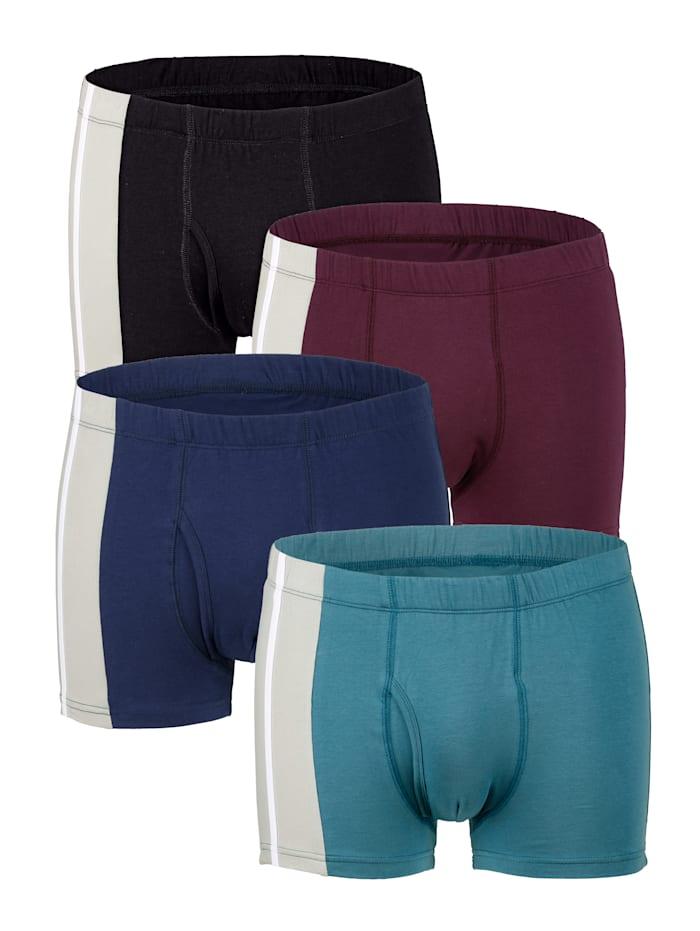 Boxershorts van organic cotton 4 stuks, 1x petrol, 1x marine, 1x bordeaux, 1x zwart