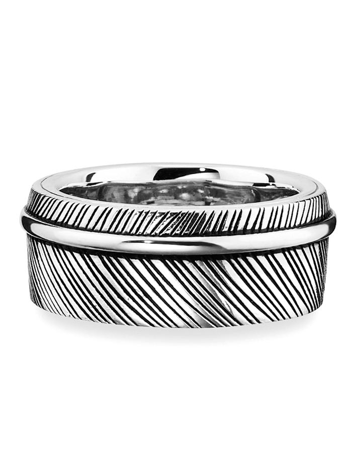 CAI Ring 925/- Sterling Silber ohne Stein Glänzend 925/- Sterling Silber, Silbergrau