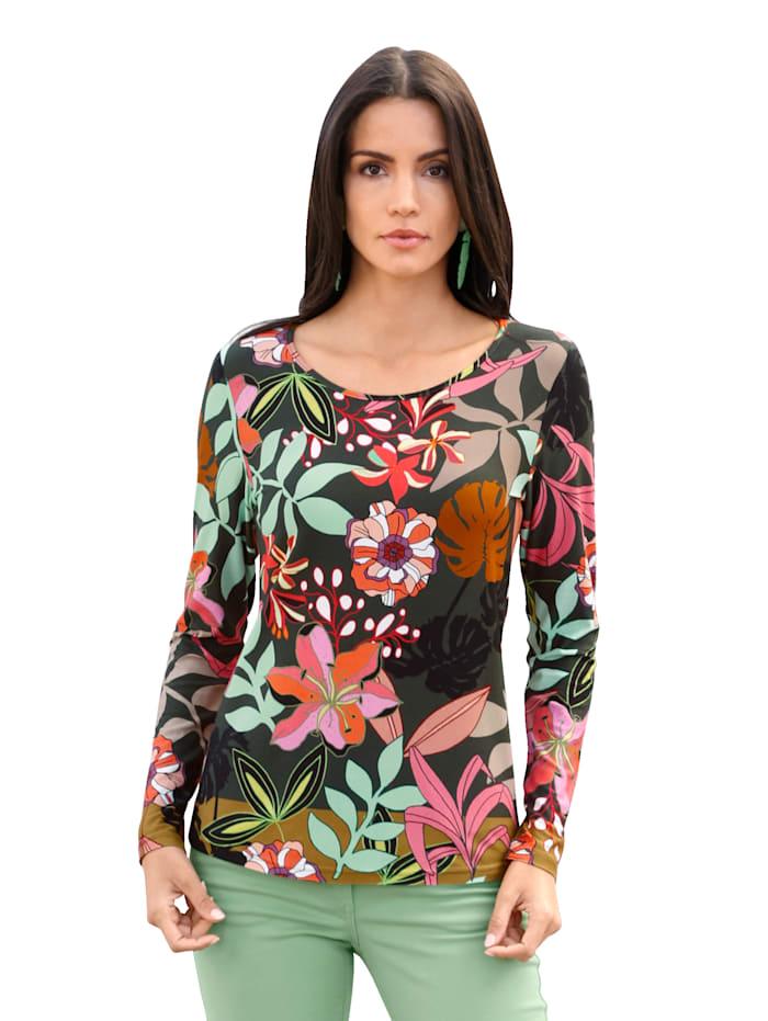 AMY VERMONT Shirt mit floralem Muster allover, Oliv/Mintgrün/Rosé/Beige