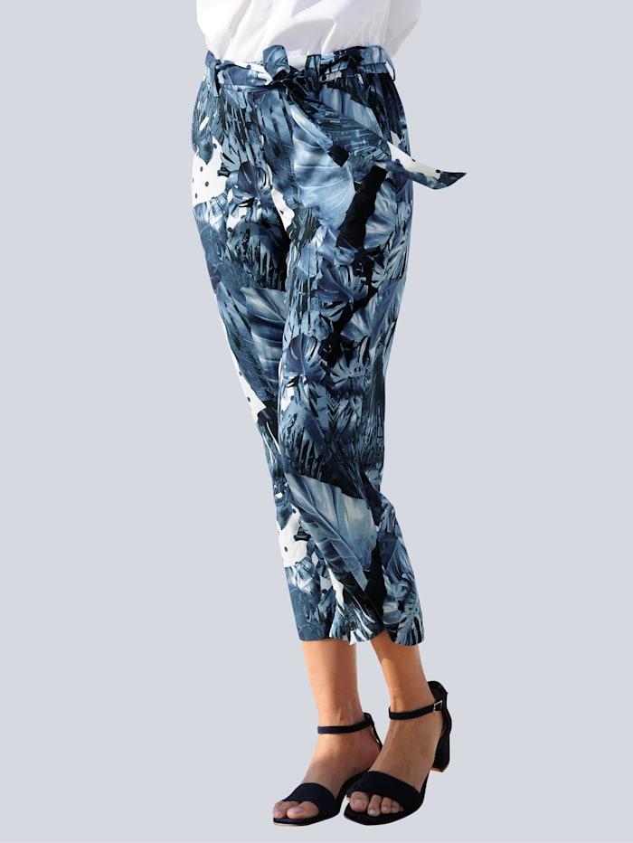 Alba Moda Culotte met bloemendessin allover, Marine/Blauw/Wit