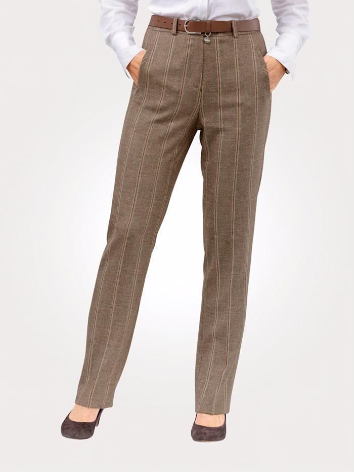 MONA Pantalon à rayures tissées, Marron/Beige/Brique