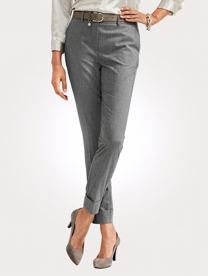 MONA Trousers made from a soft fabric blend, Grey