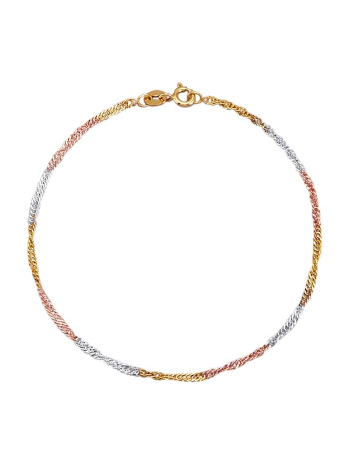 Singapurarmband, Gelbgoldfarben/Roségoldfarben/Silberfarben