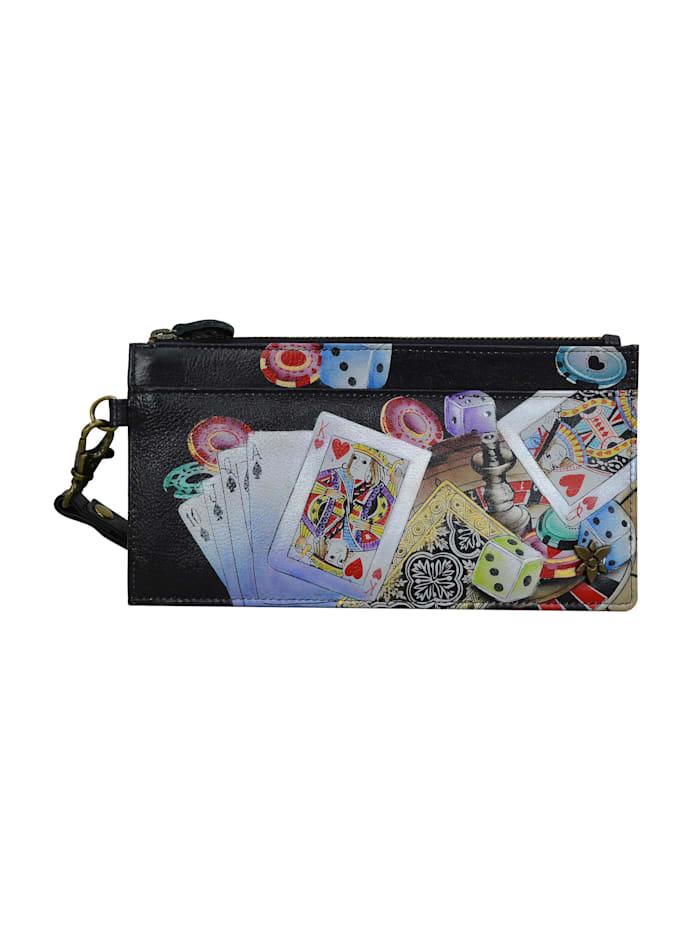 ANUSCHKA Brieftasche High Roller aus handbemaltem Leder, mehrfarbig
