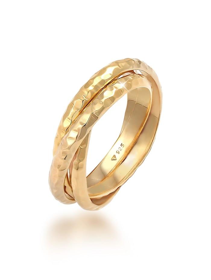 Elli Ring Basic Wickelring Klassik Gehämmert 925 Silber, Gold