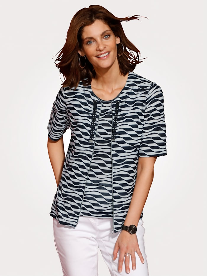 Rabe Shirt-Set mit Top, Marineblau/Weiß