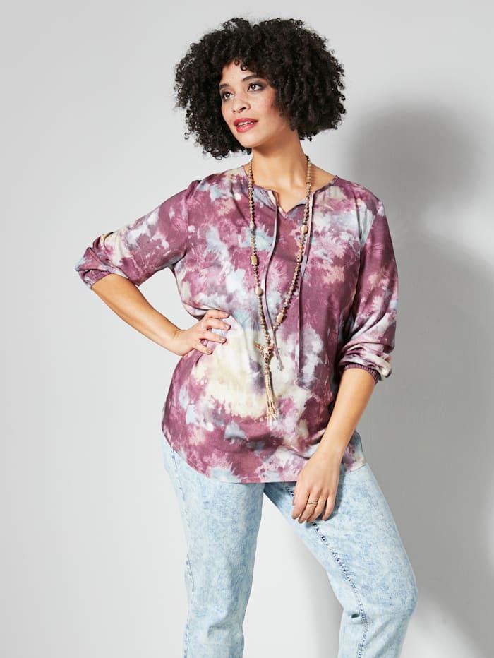 Angel of Style Tunika-Bluse im angesagten Batikmuster, Mauve/Blau/Rosé
