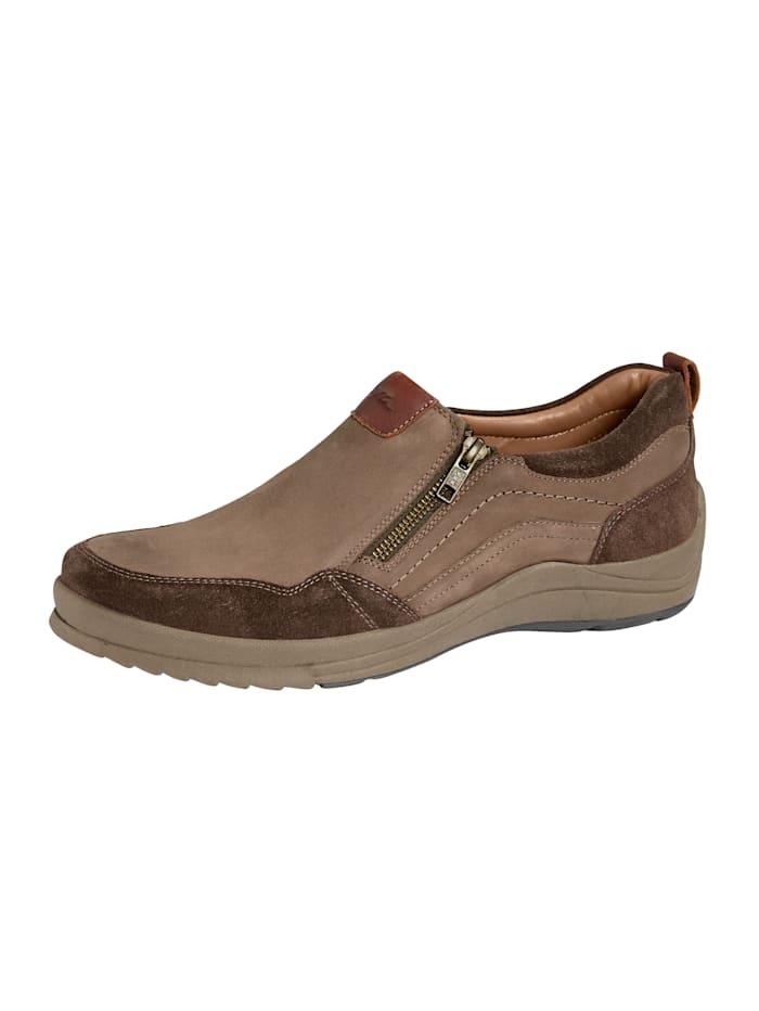 Ara Slipper obuv s dodatočným zipsom, Hnedá