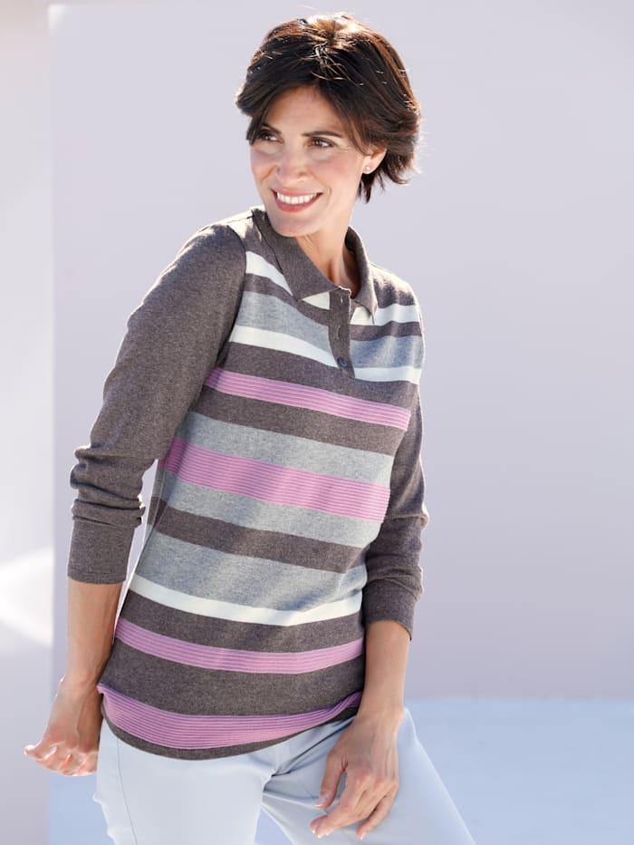 Paola Pullover im Streifendesign, Taupe/Hellgrau