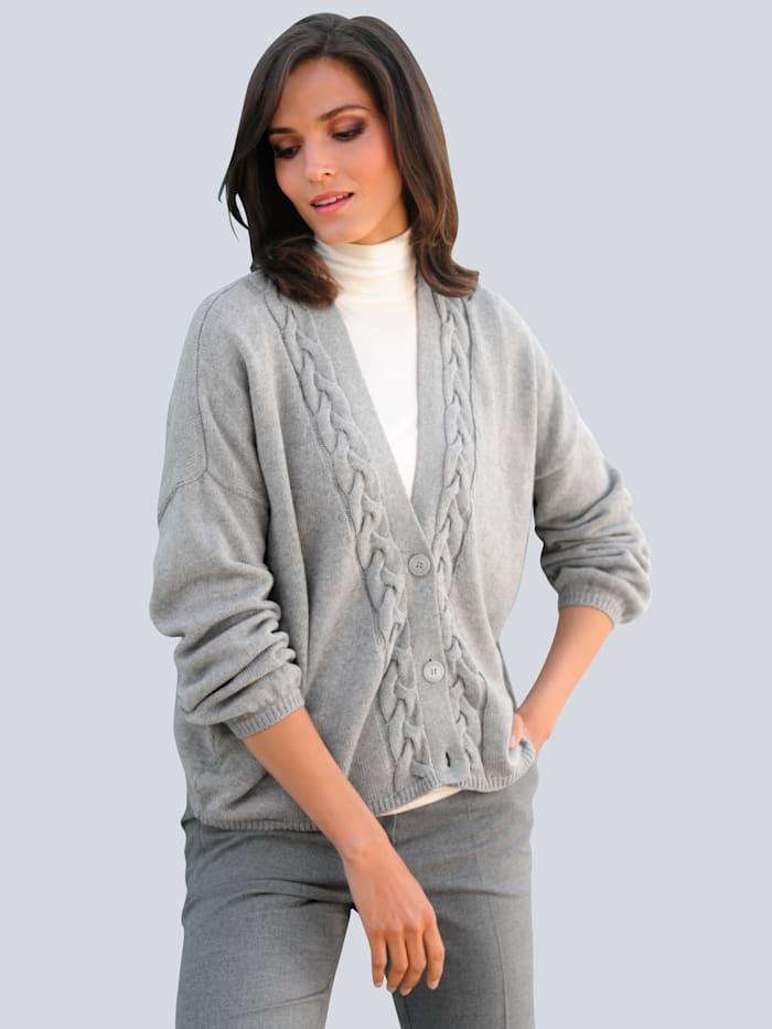 Alba Moda Strickjacke allover im aufwändigen Zopfstrickmuster, Grau
