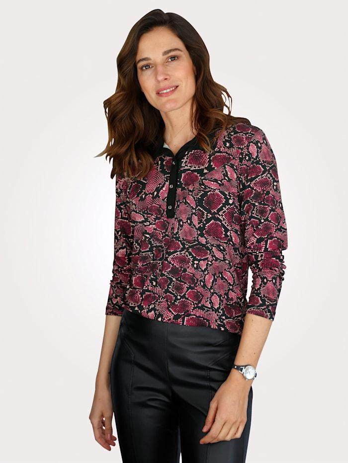 MONA Poloshirt mit Reptil-Druck, Schwarz/Pink