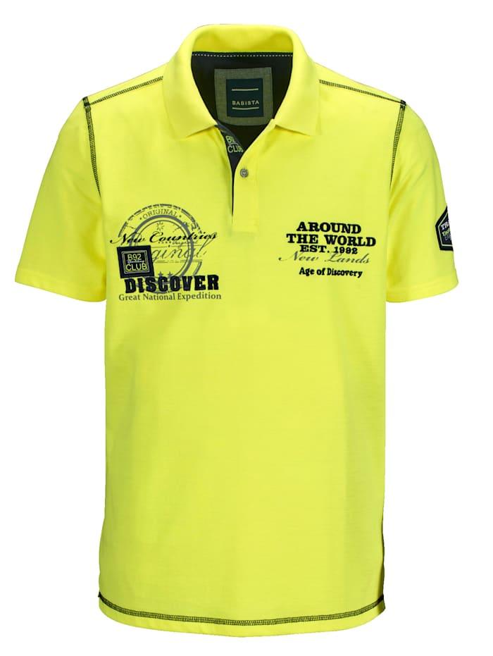 BABISTA Poloshirt met dessin en borduursel, Neongeel