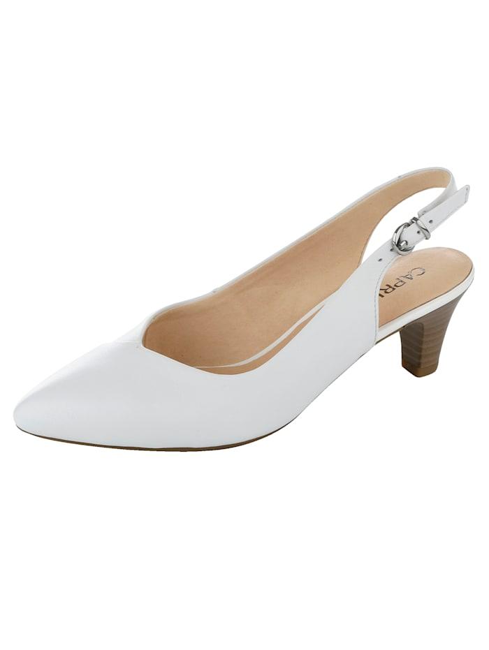 Caprice Sling in eleganter, spitzer Form, Weiß
