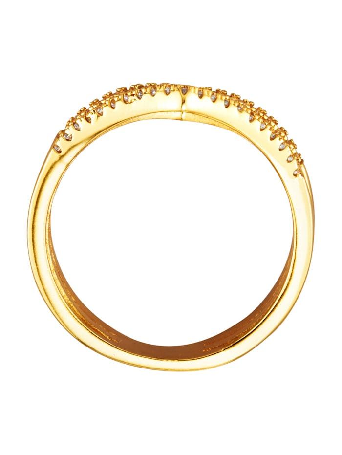 Treradig ring med vita cubic zirconia