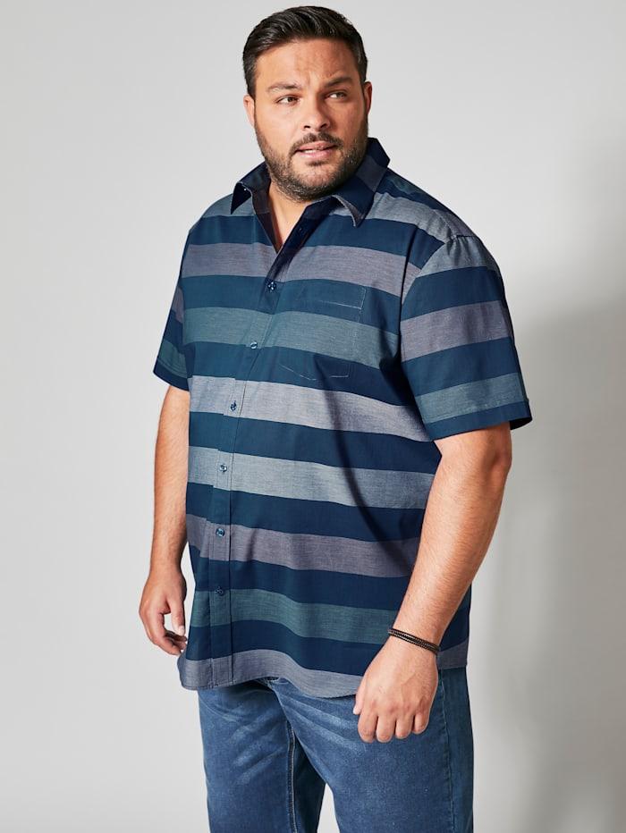 Men Plus Kurzarmhemd mit modischem Streifendessign, Dunkelblau/Grün/Weiß