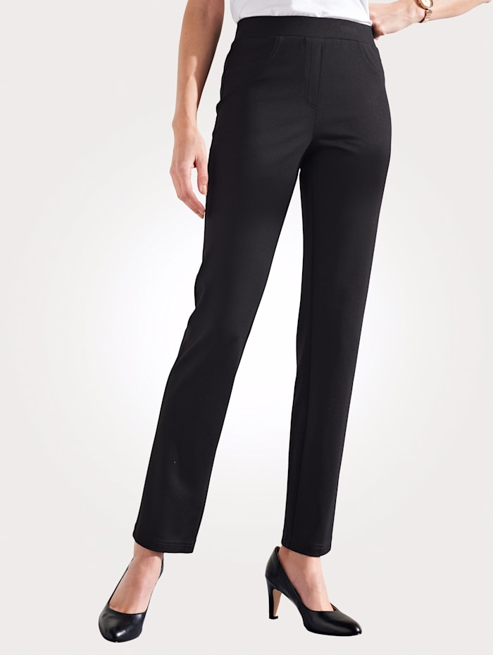 MONA Pull-on trousers with an elasticated waist, Black