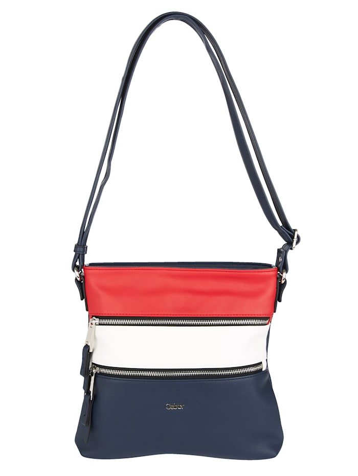 Gabor Shoulder Bag in a classic design, Red/White/Navy