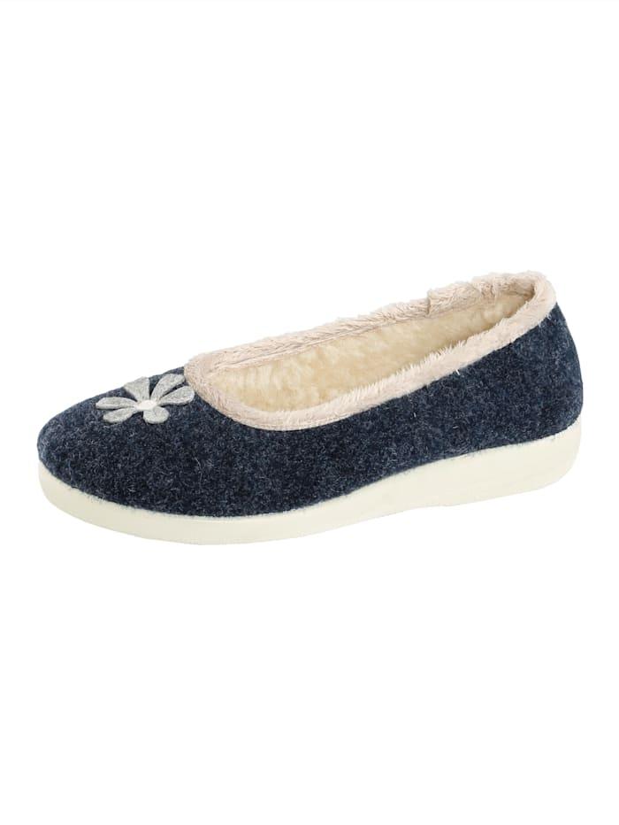 Belafit Pantoufles à doublure en laine d'agneau, Bleu