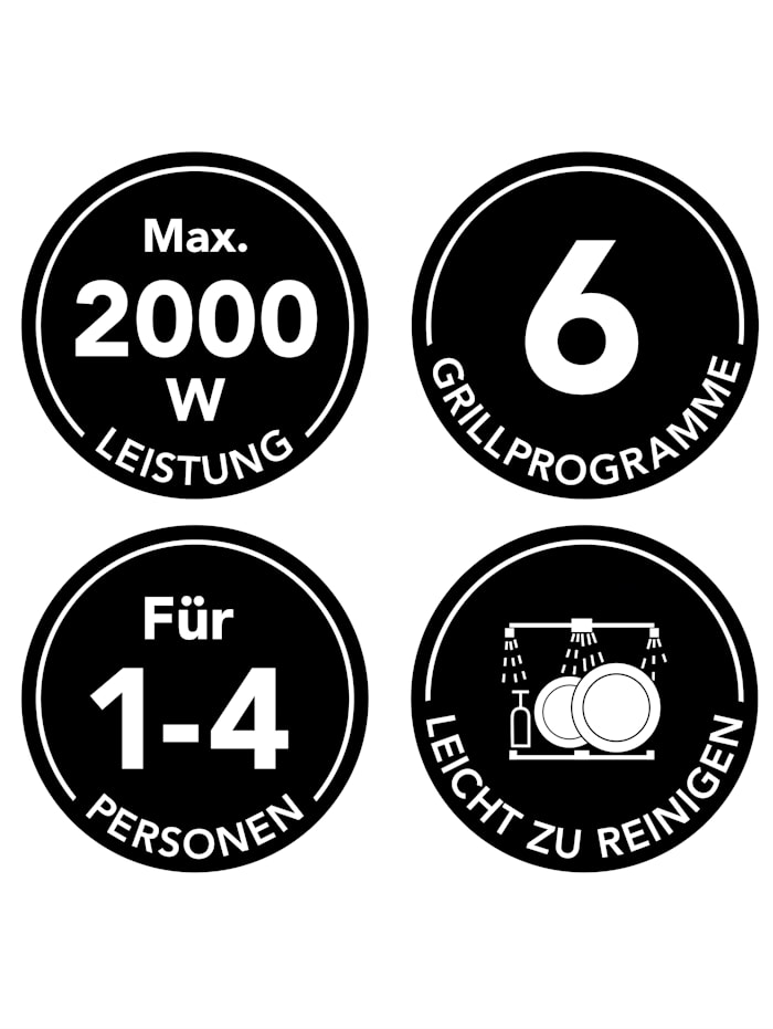 Smart Kontaktgrill Digital mit 6 Programmen, 2000 Watt