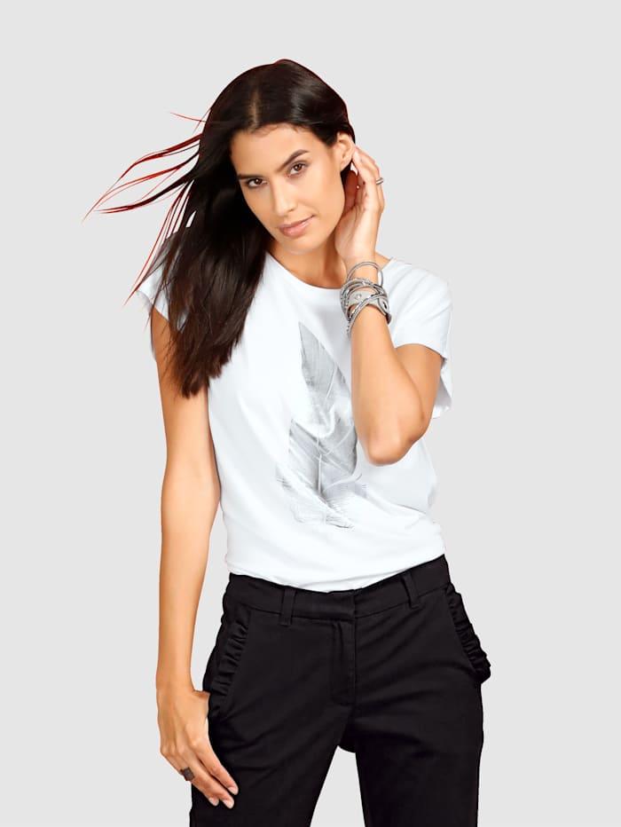 Laura Kent Shirt mit Feder, Weiß