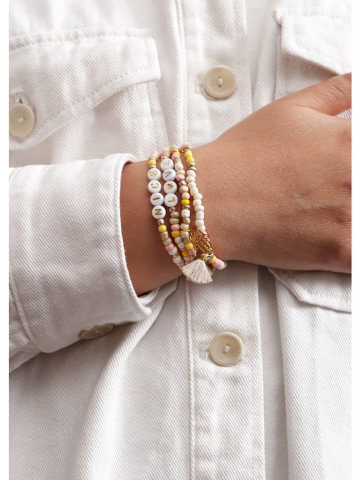 Handgefertigtes Perlenarmband mit Mini-Quaste und Anker-Motiv