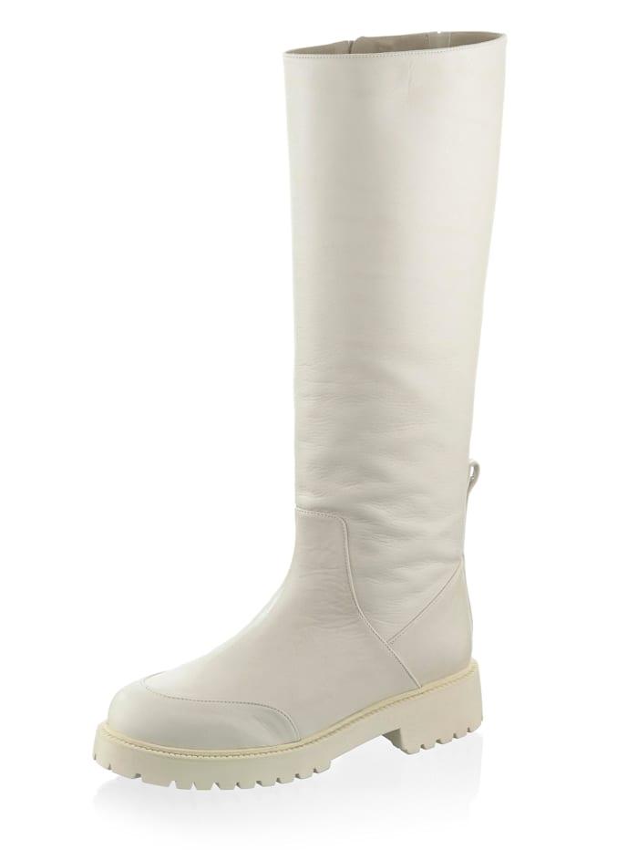Alba Moda Bottes en cuir vachette, Blanc cassé