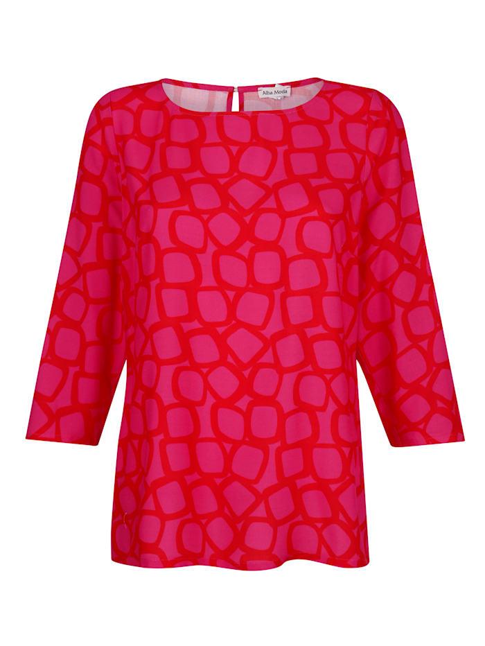 Alba Moda Blus i trendigt tryckt mönster, Röd/Cerise